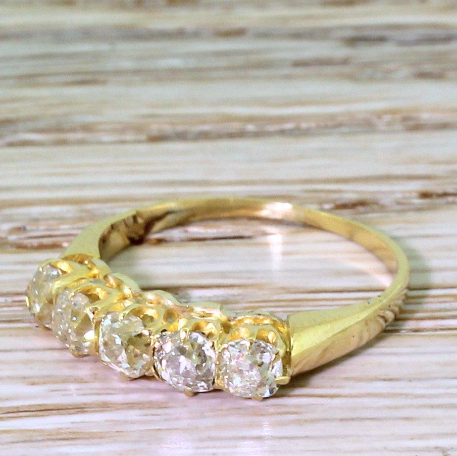 victorian 117 carat old cut diamond five stone ring circa 1900