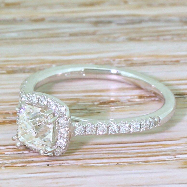 092 carat old cushion cut diamond halo ring platinum