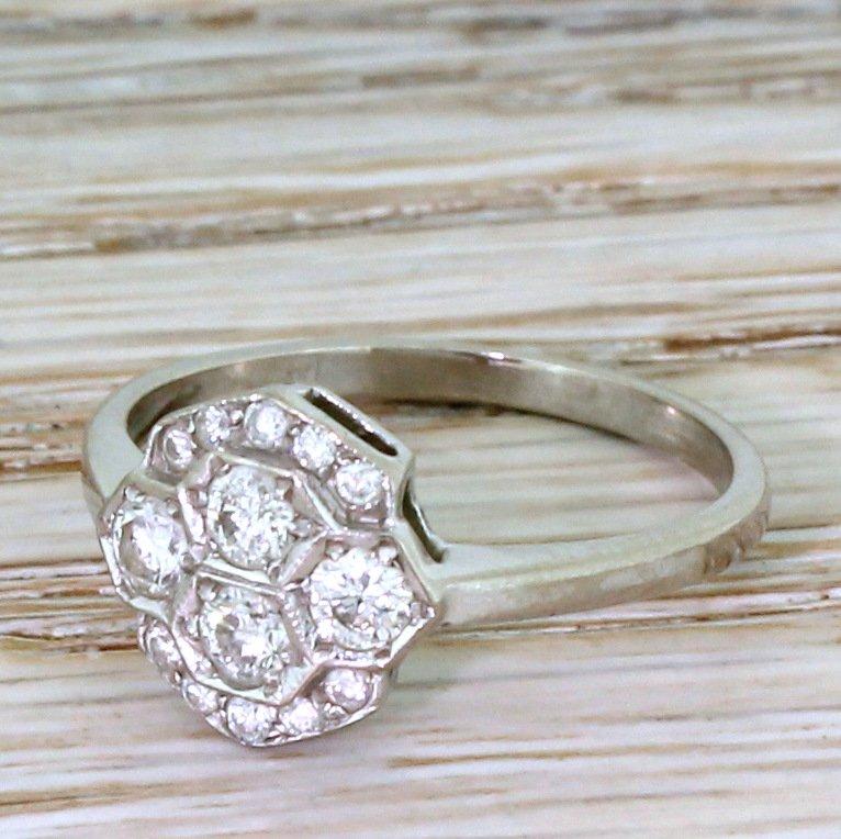 mid century 055 carat brilliant cut diamond cluster ring circa 1960