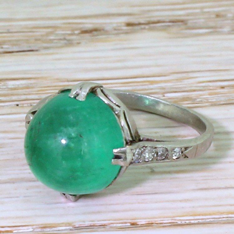 art deco 569 carat colombian cabochon emerald ring circa 1930