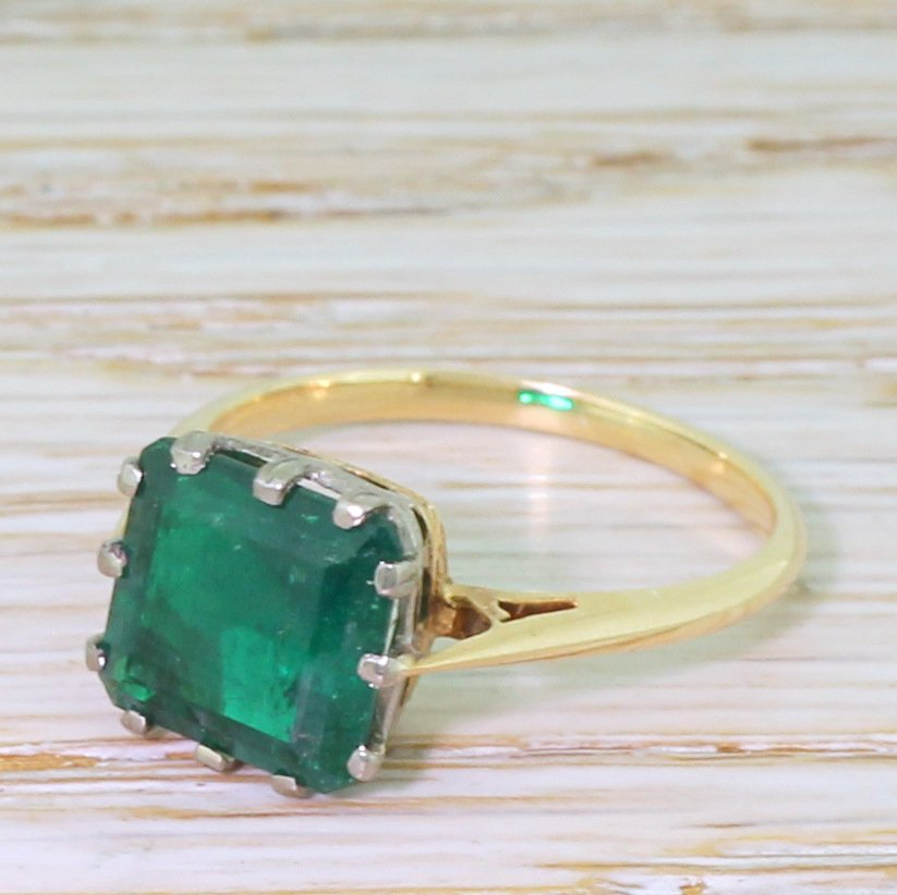 art deco 285 carat colombian emerald solitaire ring circa 1925