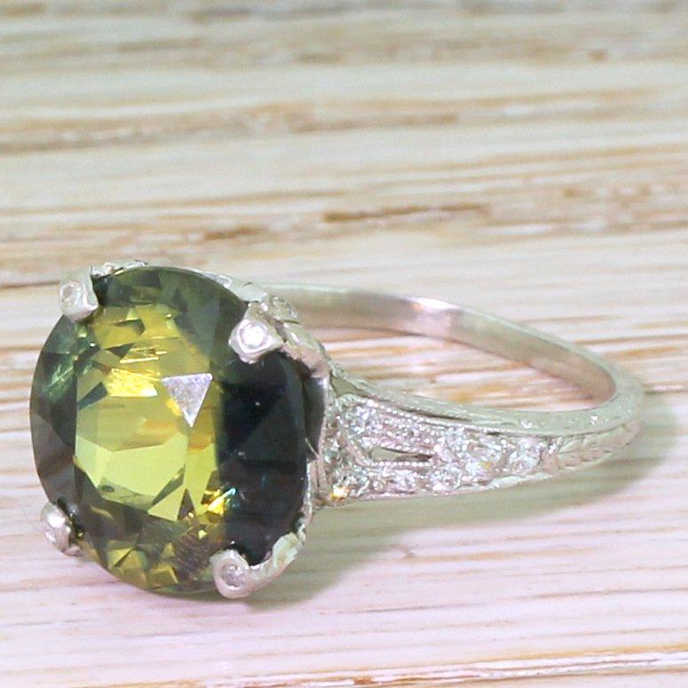 edwardian 935 carat natural yellow 038 blue sapphire solitaire ring circa 1910