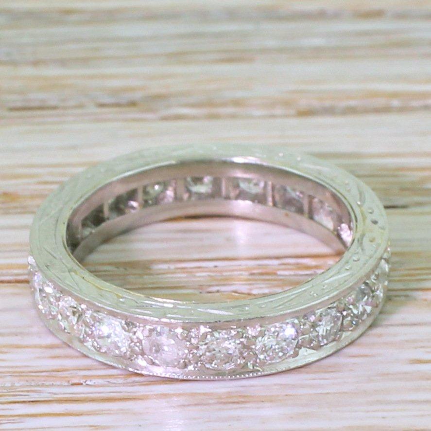 mid century 120 carat round brilliant cut diamond full eternity ring circa 1955