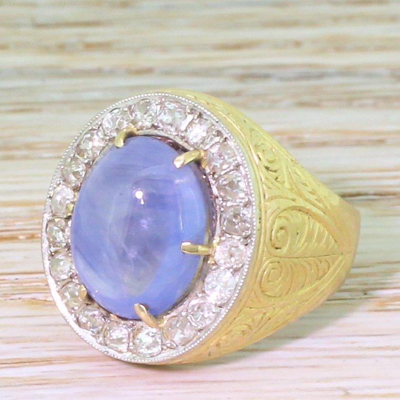 art deco 778 carat natural ceylon cabochon sapphire ring circa 1915