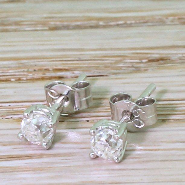 056 carat old cut diamond stud earrings 18k white gold
