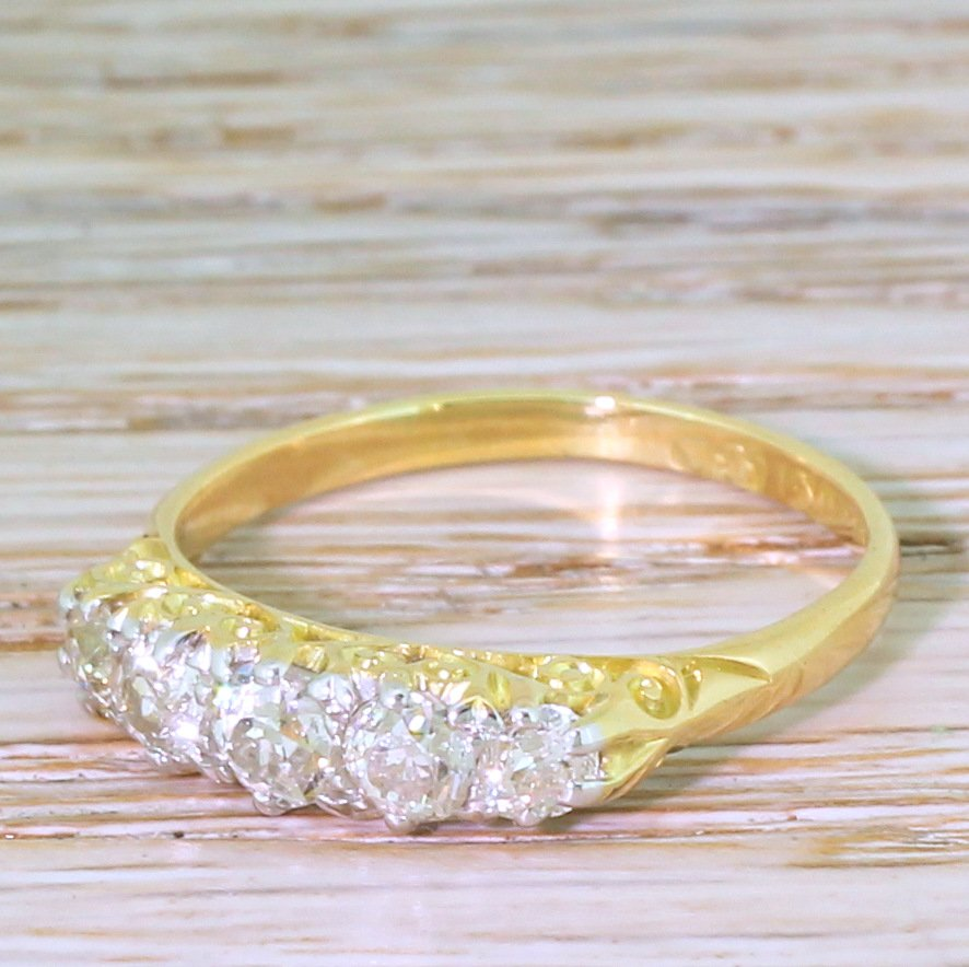 victorian 093 carat old cut diamond five stone ring circa 1900