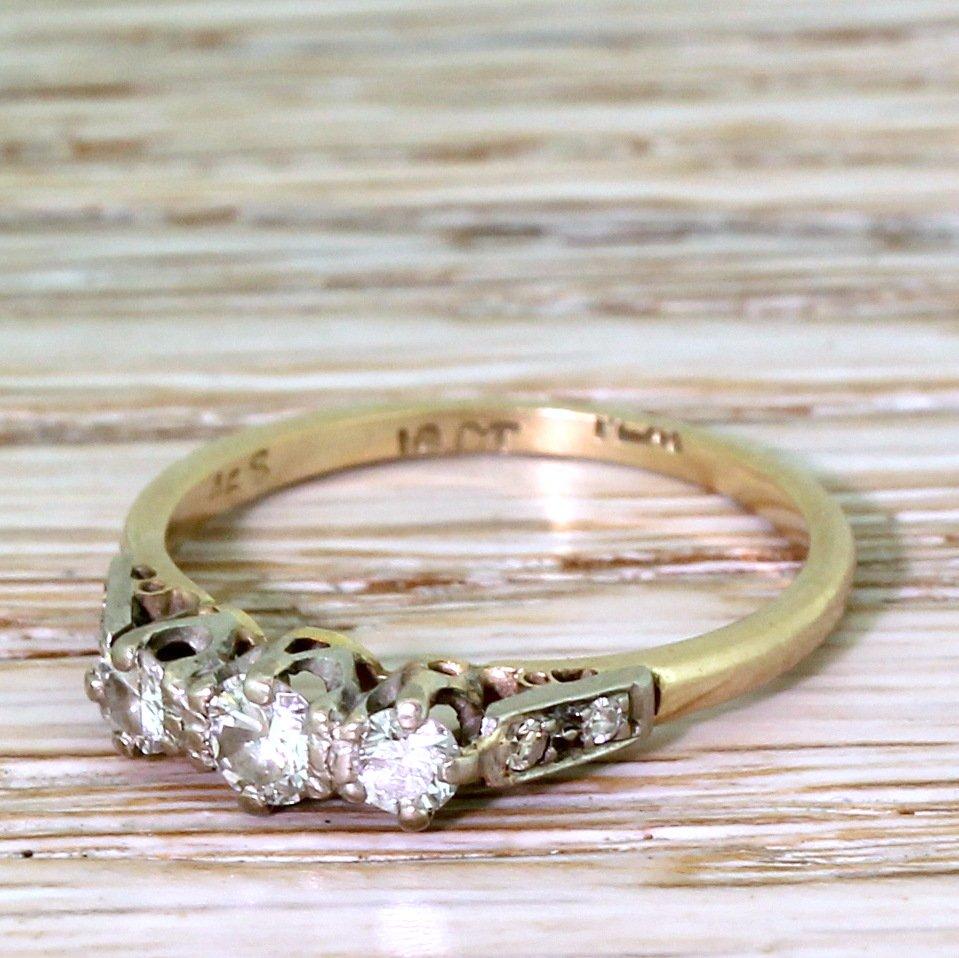 mid century 035 carat brilliant cut diamond trilogy ring circa 1965