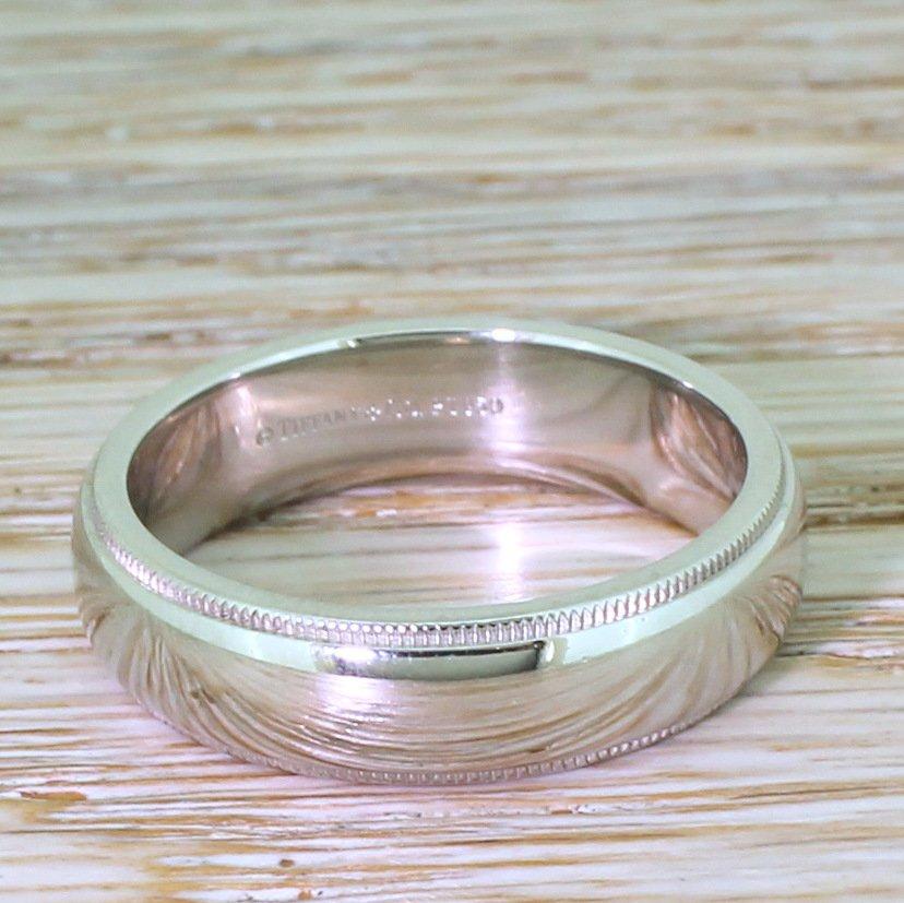 d45732017 TIFFANY & CO. Classic Milgrain Wedding Band Ring, Platinum ...