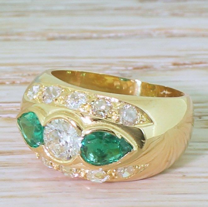 retro 120 carat old cut diamond 038 057 carat emerald ring circa 1950