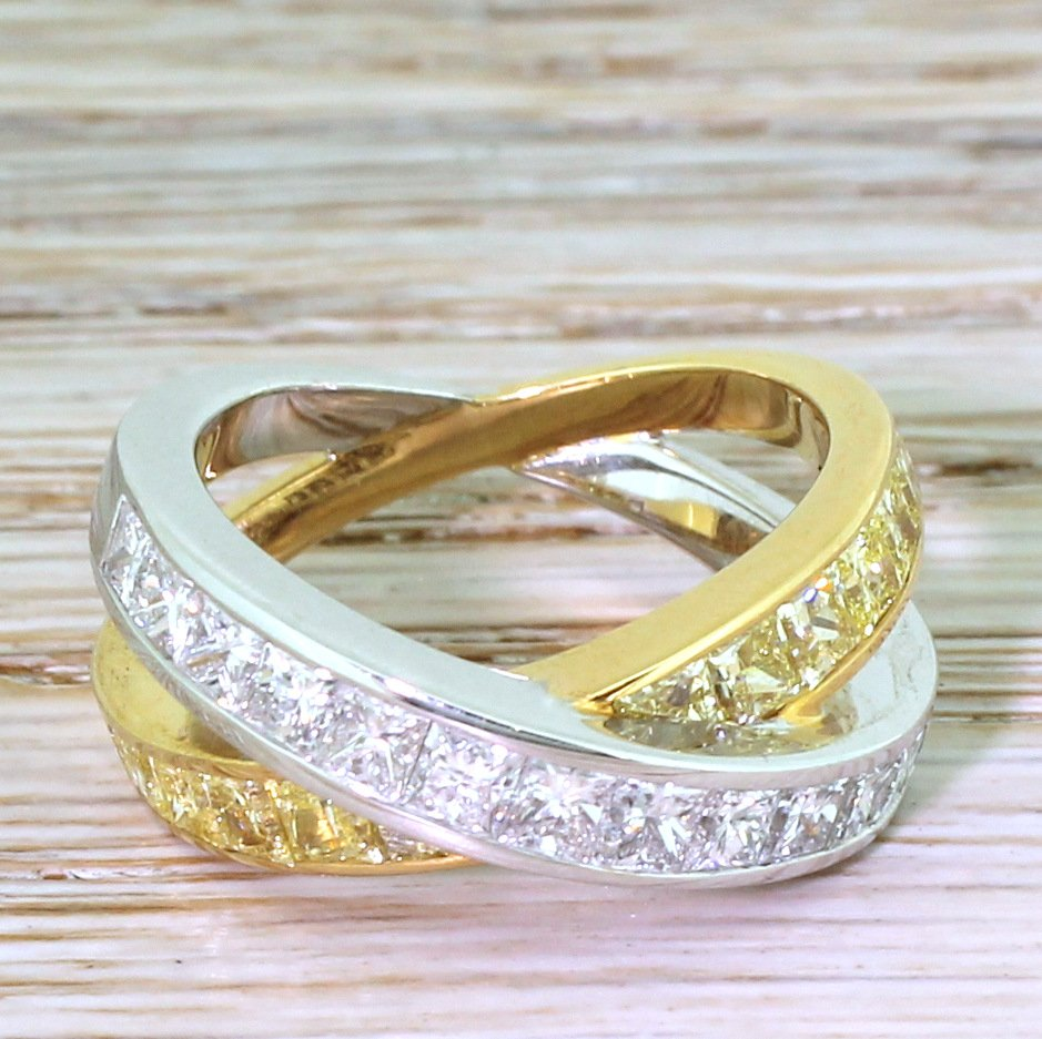 chopard 306 carat fancy yellow 038 white double eternity ring 18k gold