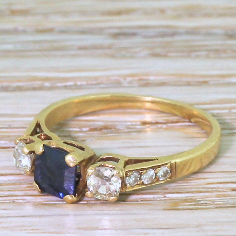 mid century step cut sapphire amp old cut diamond trilogy ring circa 1960