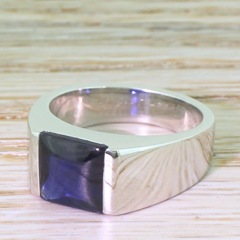 cartier sapphire tank ring 18k white gold