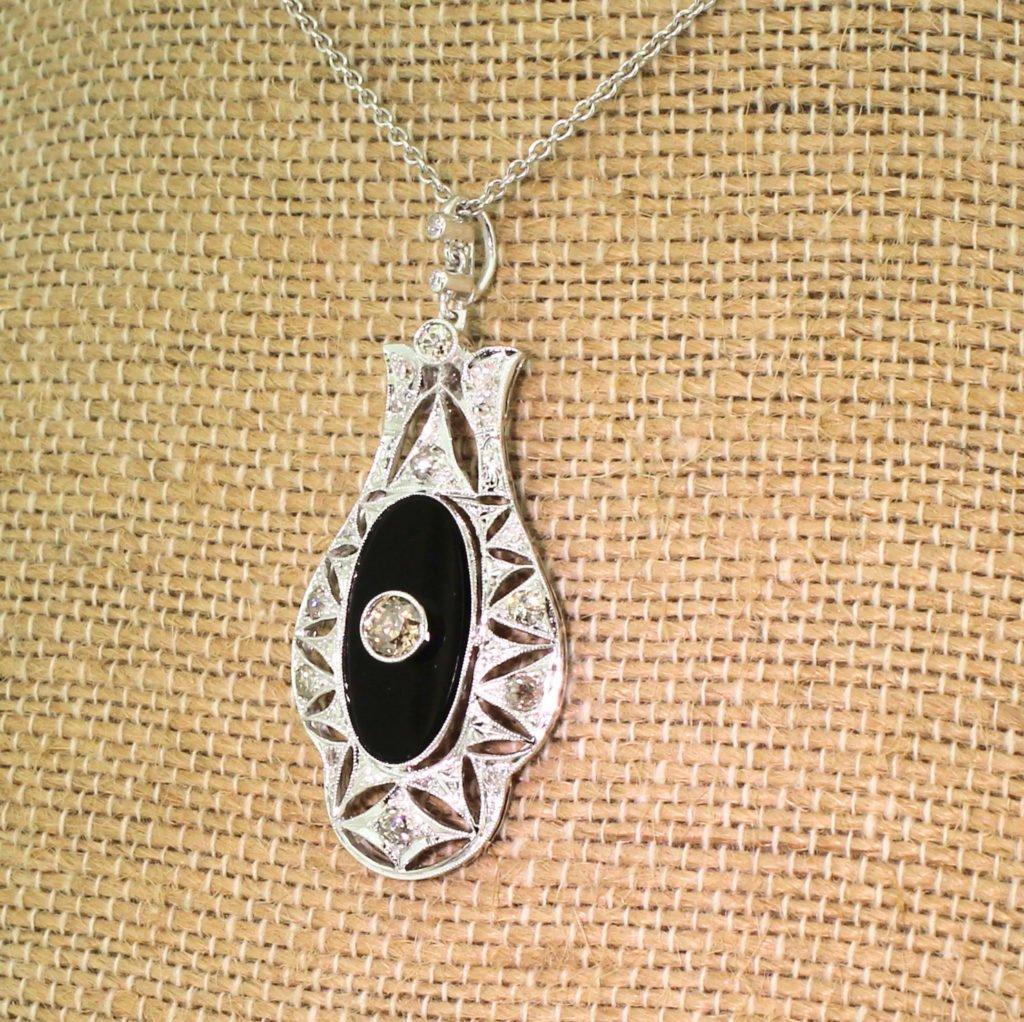 mid century old cut diamond 038 onyx pendant circa 1950