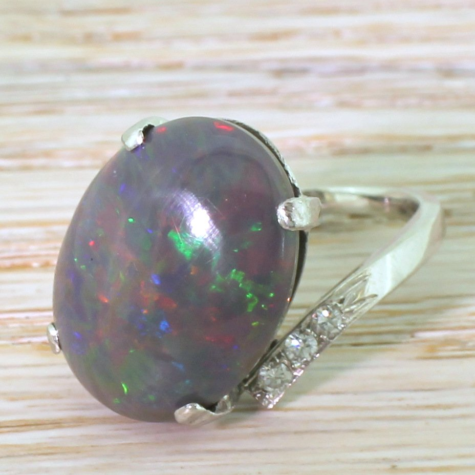 mid century 867 carat black opal solitaire ring french circa 1965