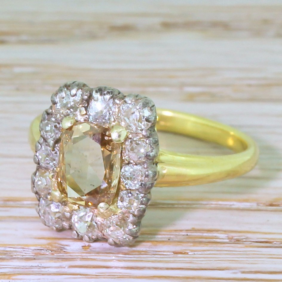 victorian 152 carat rose cut 038 old cut diamond coronet cluster ring circa 1890