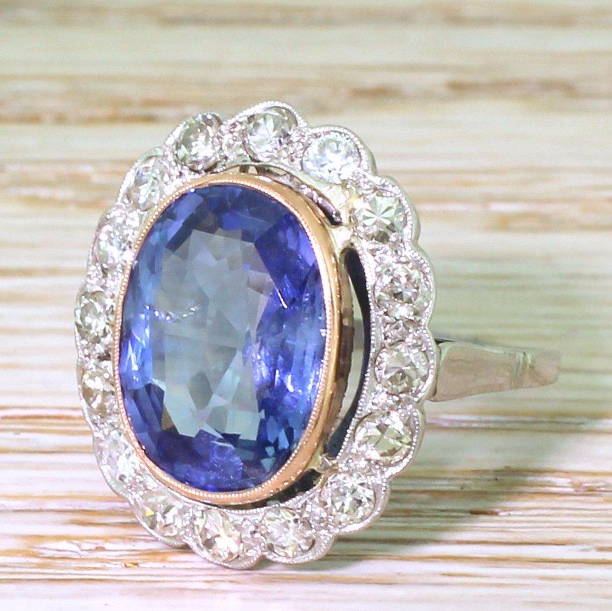 art deco 743 carat natural ceylon sapphire 038 old cut diamond ring circa 1935