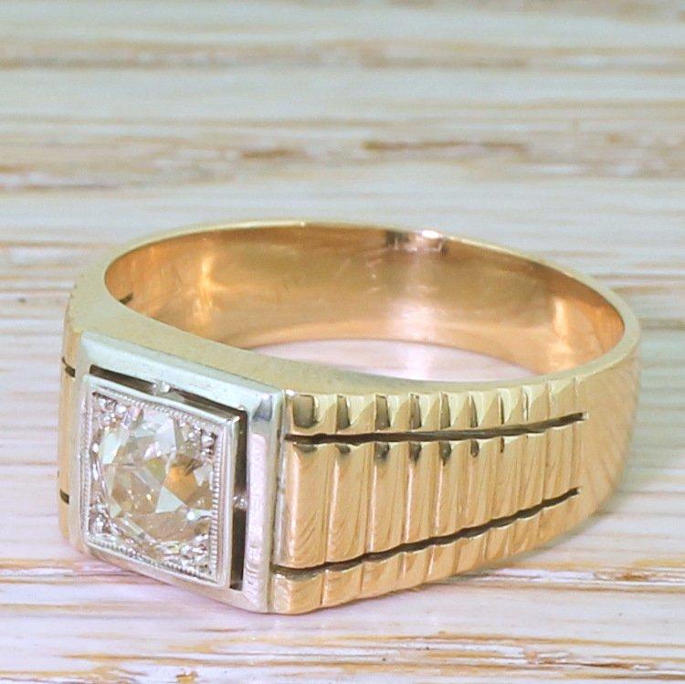 late 20th century 093 carat old cut diamond solitaire ring circa 1975