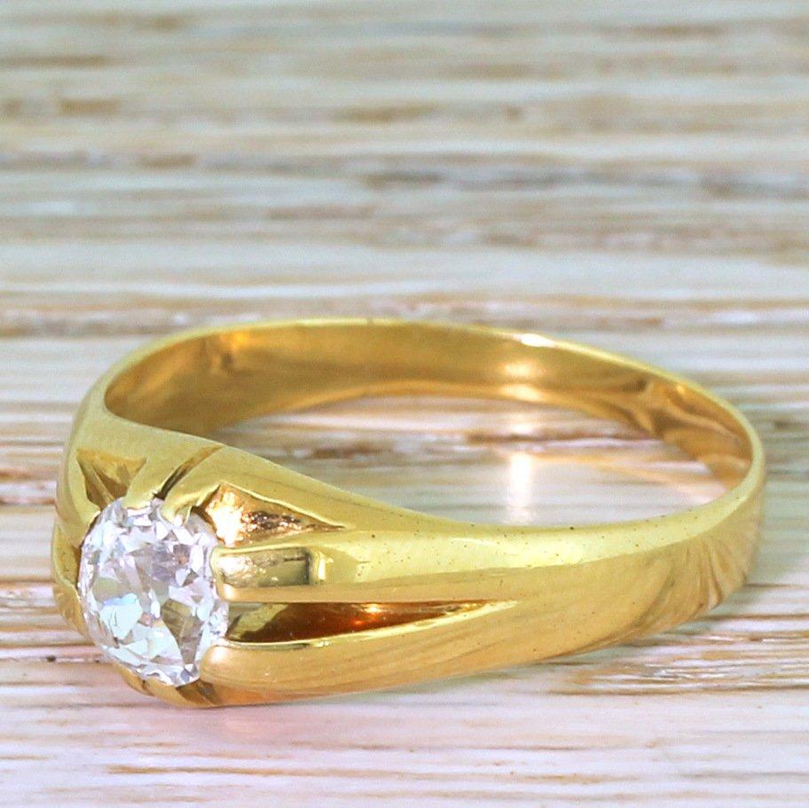 victorian 086 carat old cut diamond solitaire ring circa 1895