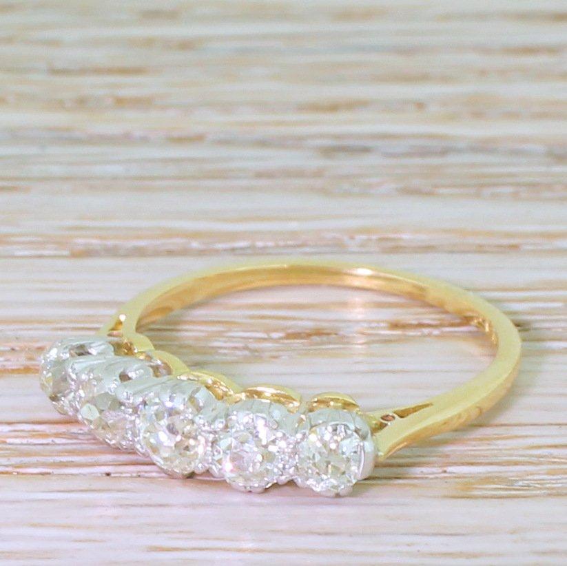 edwardian 120 carat old cut diamond five stone ring circa 1910
