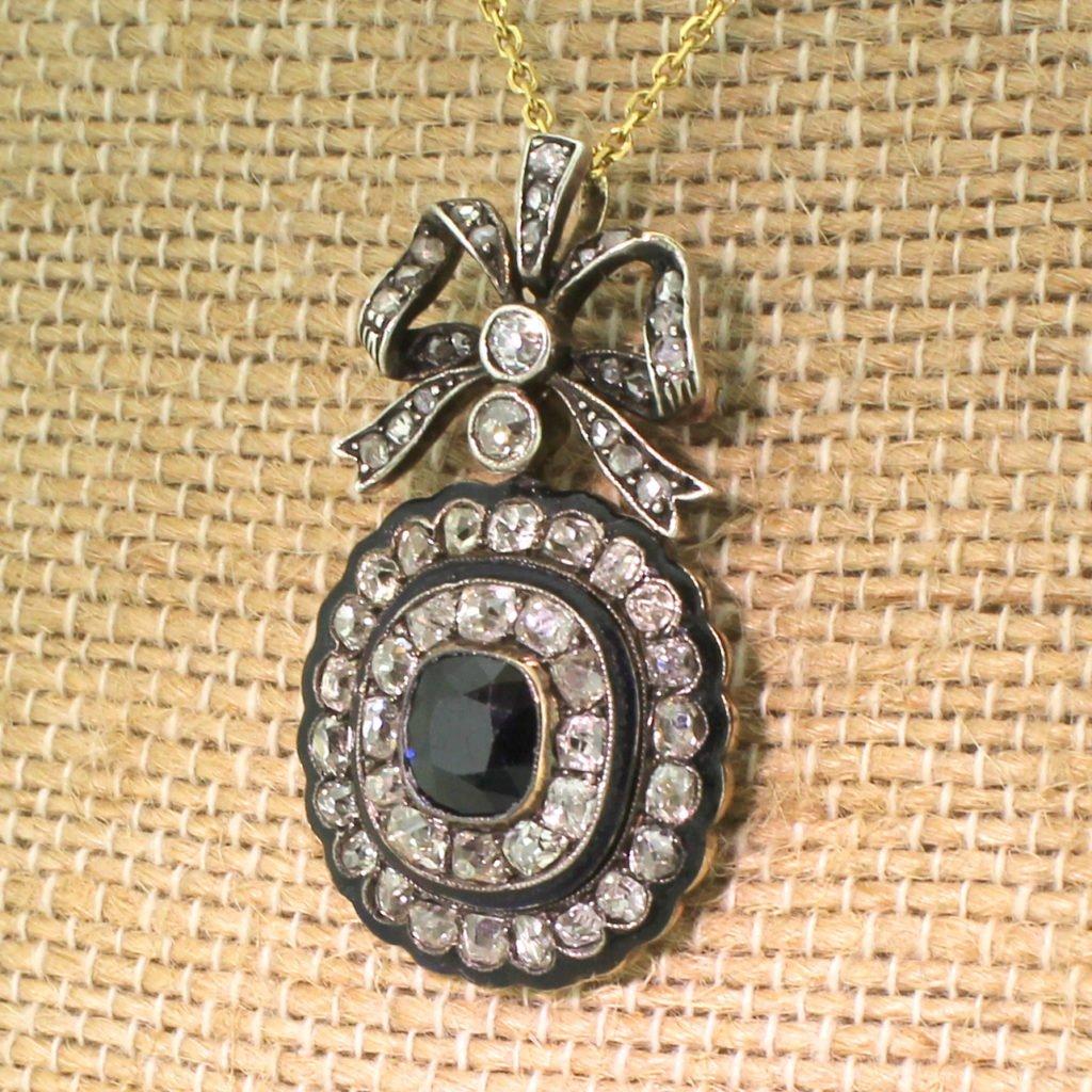 victorian 126 carat sapphire old cut diamond amp enamel brooch  pendant circa 1880