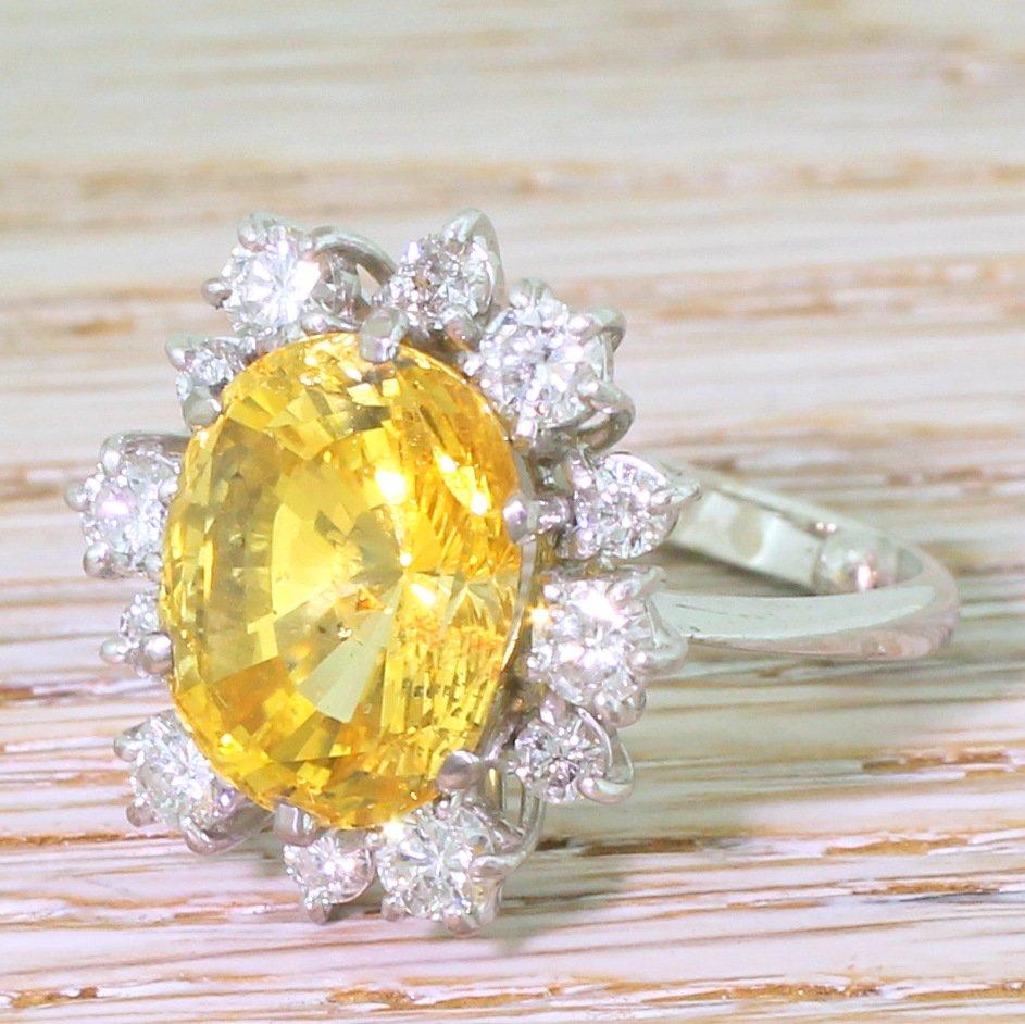 mid century 962 carat ceylon yellow sapphire 038 diamond ring circa 1970