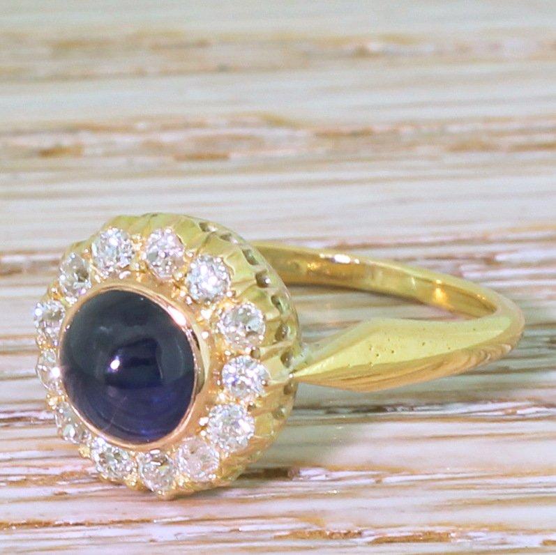 art deco 171 carat natural cabochon sapphire 038 old cut diamond ring circa 1935