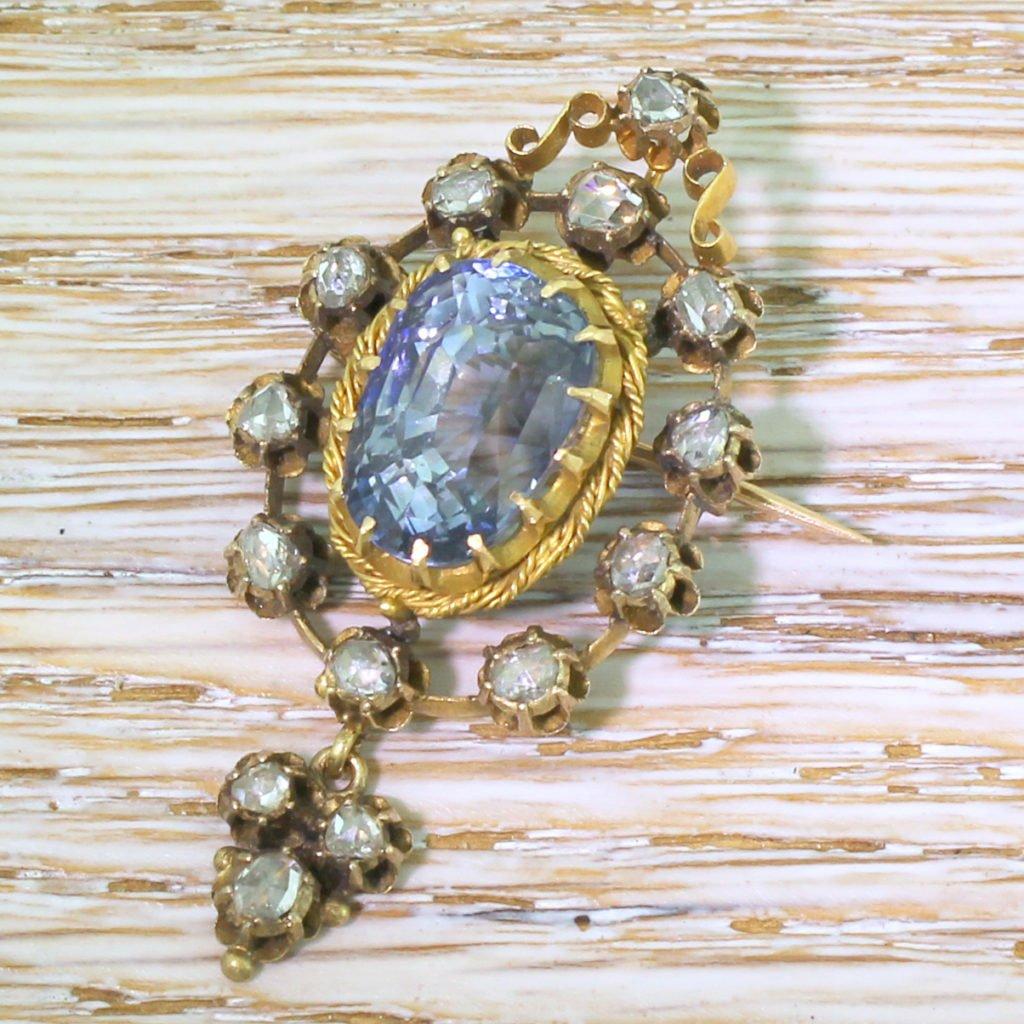 victorian 1079 carat natural ceylon sapphire brooch  pendant circa 1890