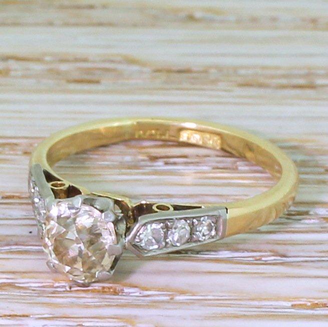 art deco 086 carat old cut diamond engagement ring circa 1920