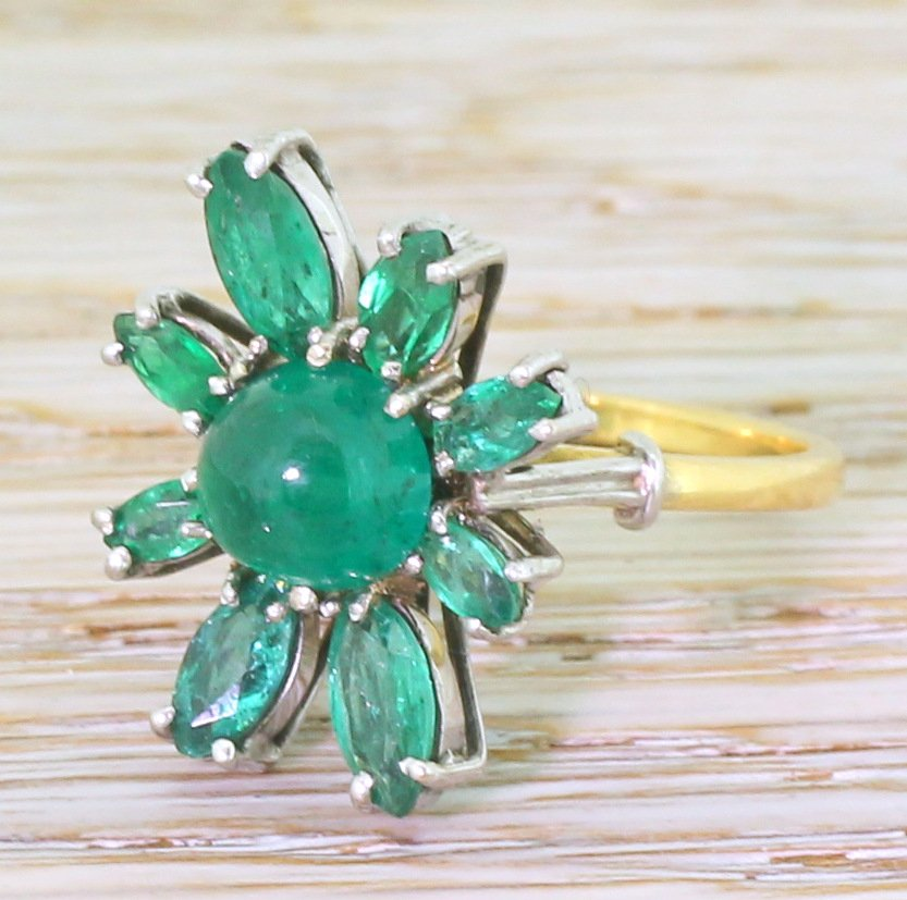 avant garde 298 carat cabochon 038 marquise cut emerald ring circa 1970