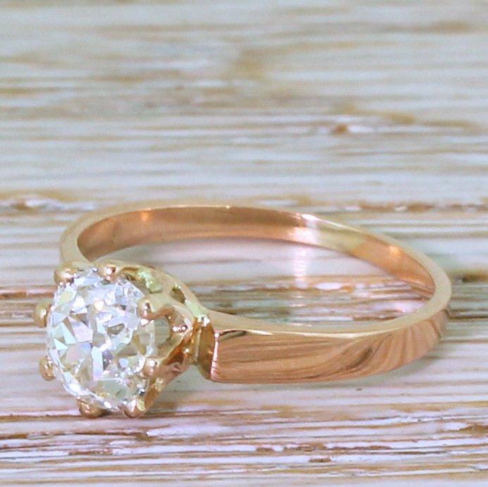 art deco 111 carat old mine cut diamond engagement ring circa 1915