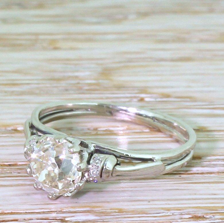 mid century 141 carat old cut diamond engagement ring circa 1960