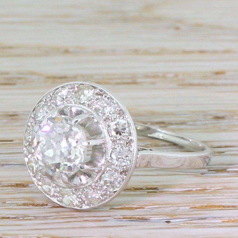 art deco 234 carat old cut diamond cluster ring french circa 1920