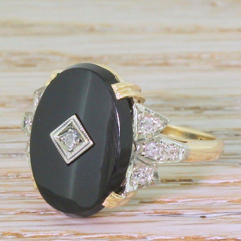 mid century onyx 038 diamond ring circa 1965