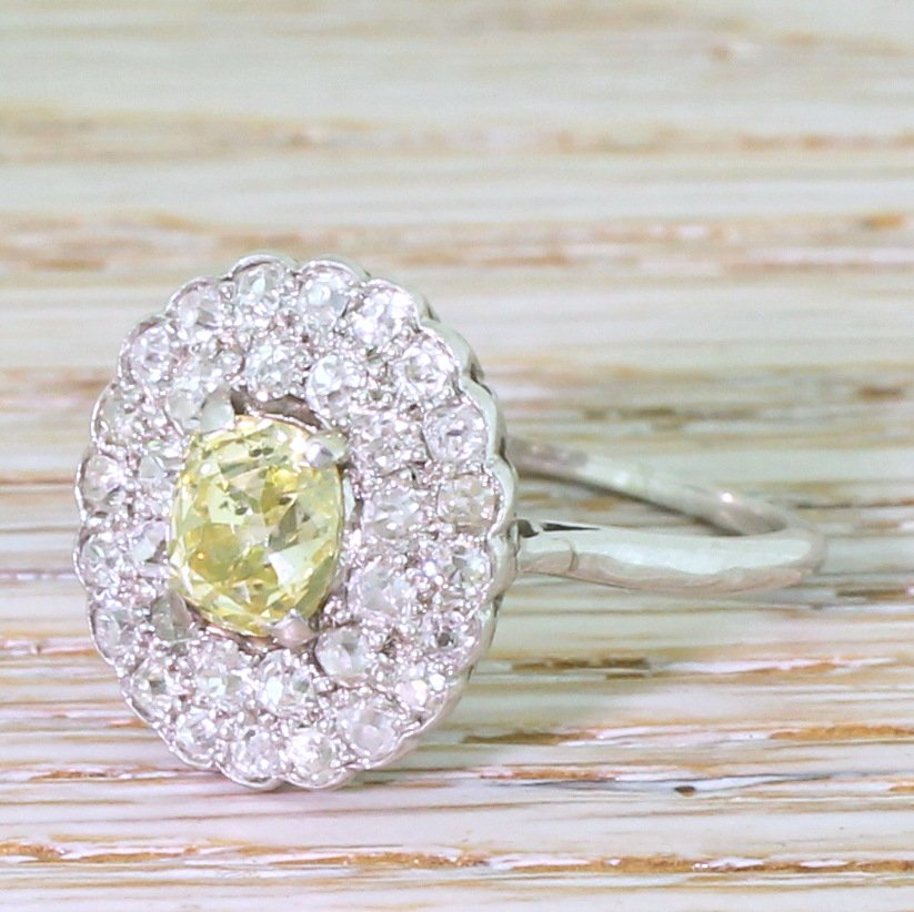 retro 287 carat fancy yellow 038 white old cut cluster ring circa 1955