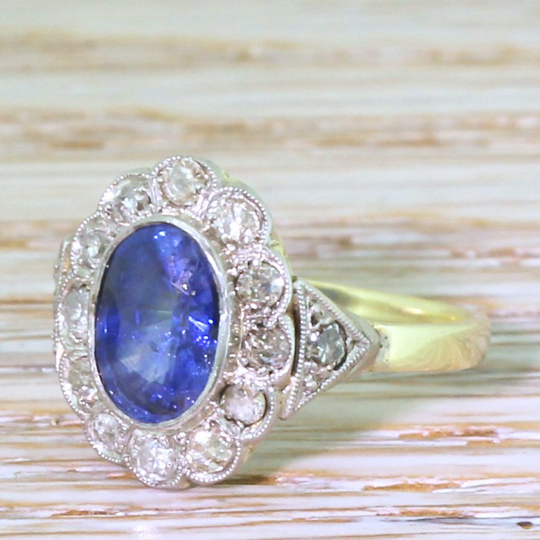 art deco 180 carat sapphire 038 old cut diamond cluster ring circa 1935