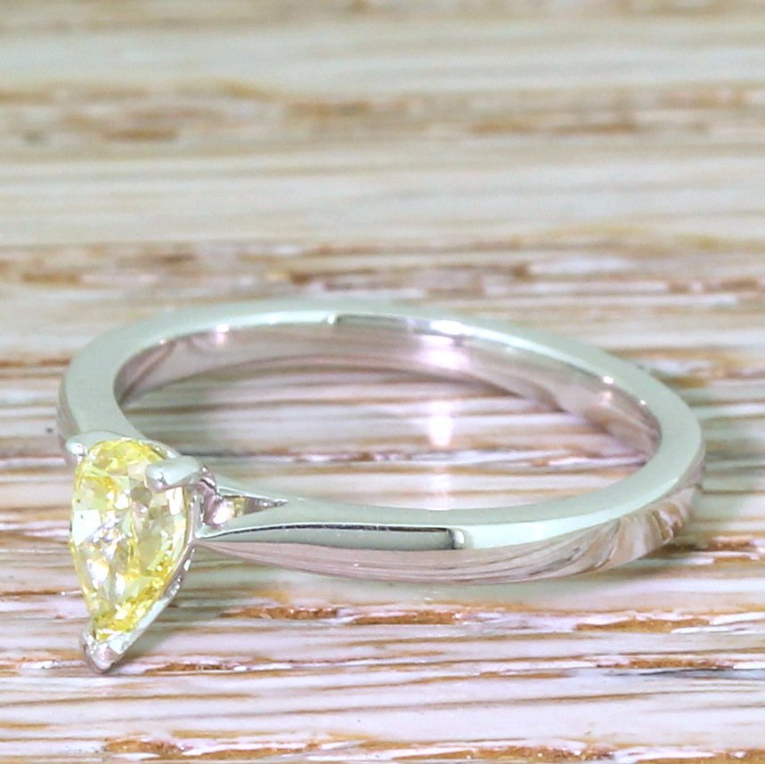 050 carat pear cut natural fancy intense yellow diamond solitaire ring platinum