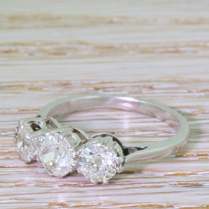 art deco 146 carat old cut diamond trilogy ring circa 1930