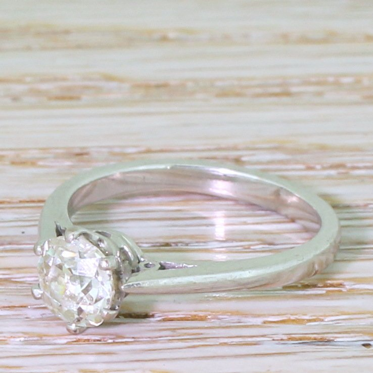 101 carat old cut diamond engagement ring 18k white gold