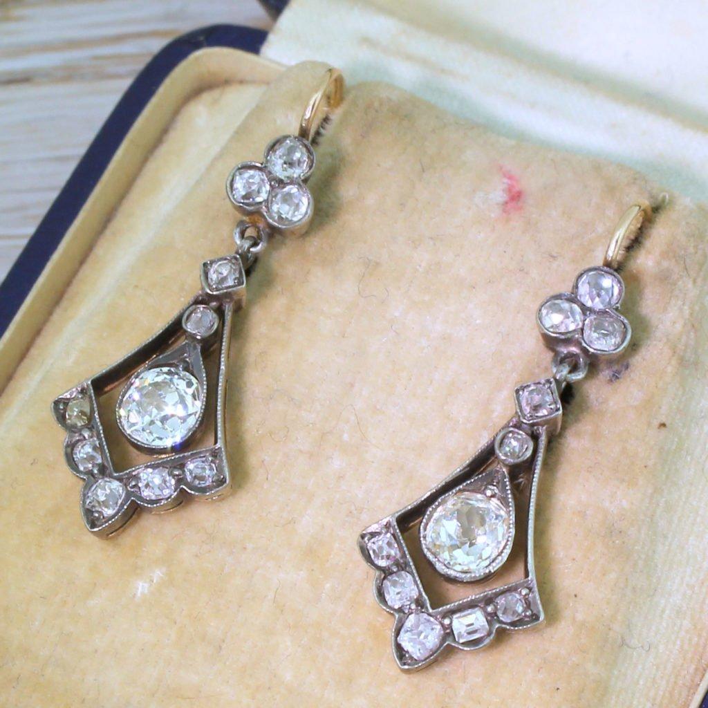 victorian 264 carat old cut diamond drop earrings circa 1870