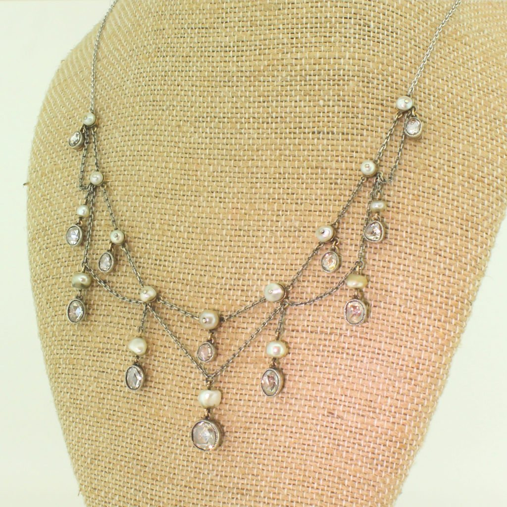 victorian rose cut diamond 038 natural pearl necklace circa 1860