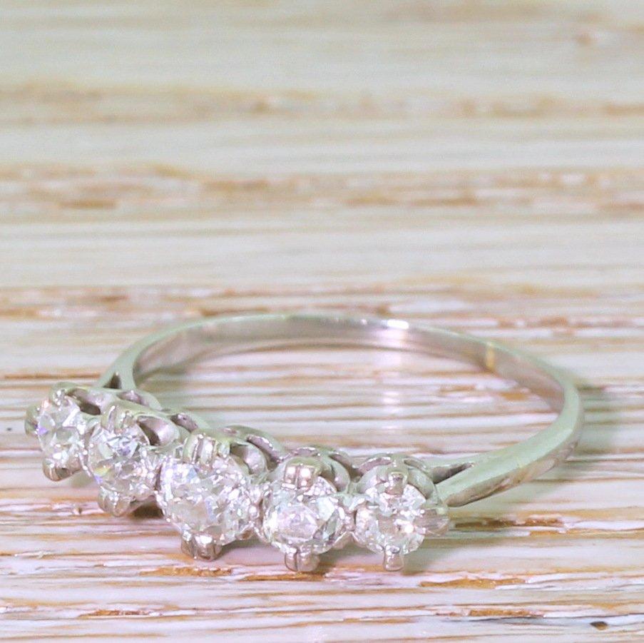 art deco 081 carat old cut diamond five stone ring circa 1940