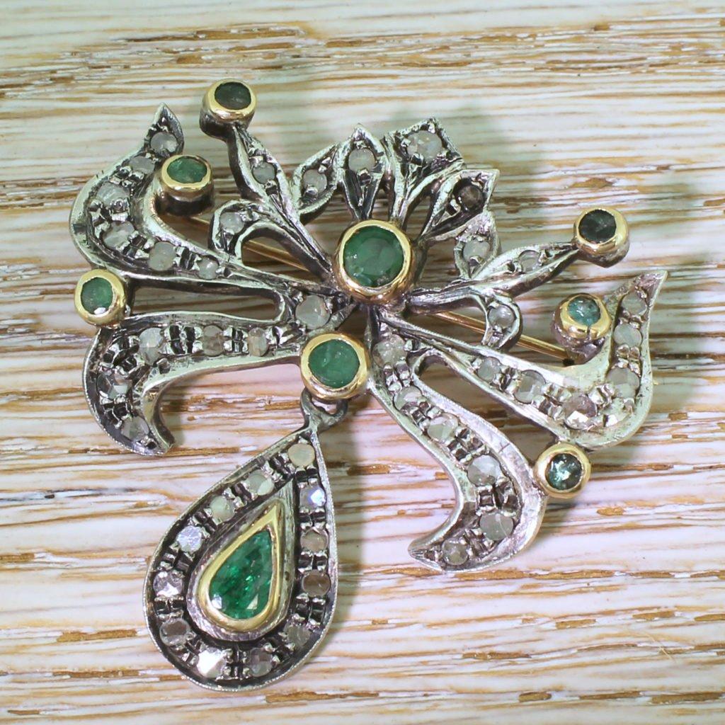 victorian emerald 038 rose cut diamond brooch circa 1900