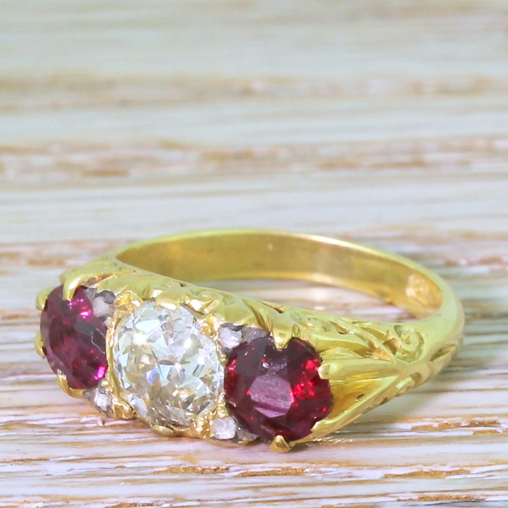 victorian old cut diamond amp ruby carved trilogy ring circa 1900