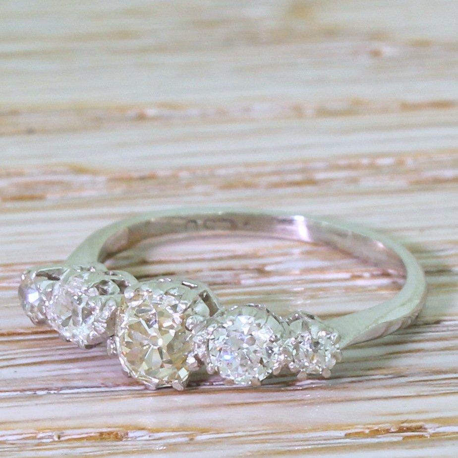 art deco 115 carat old cut diamond five stone ring circa 1930