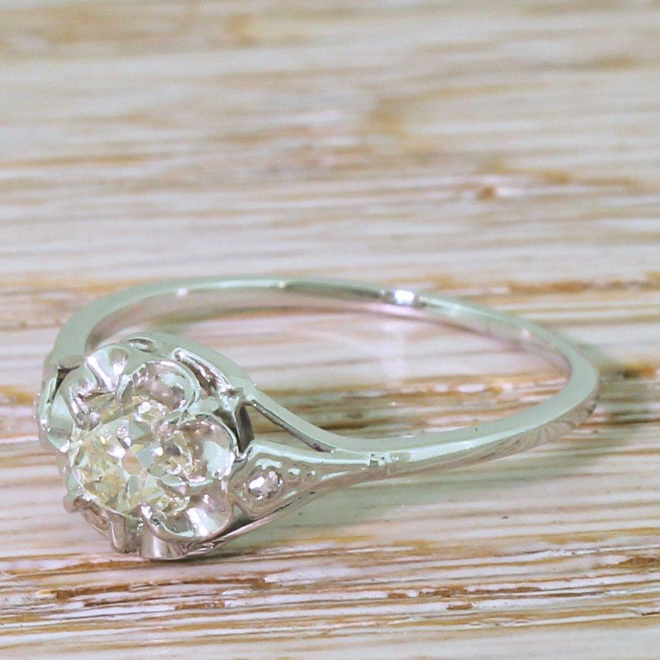 art deco 082 carat old cut colour j diamond engagement ring circa 1935