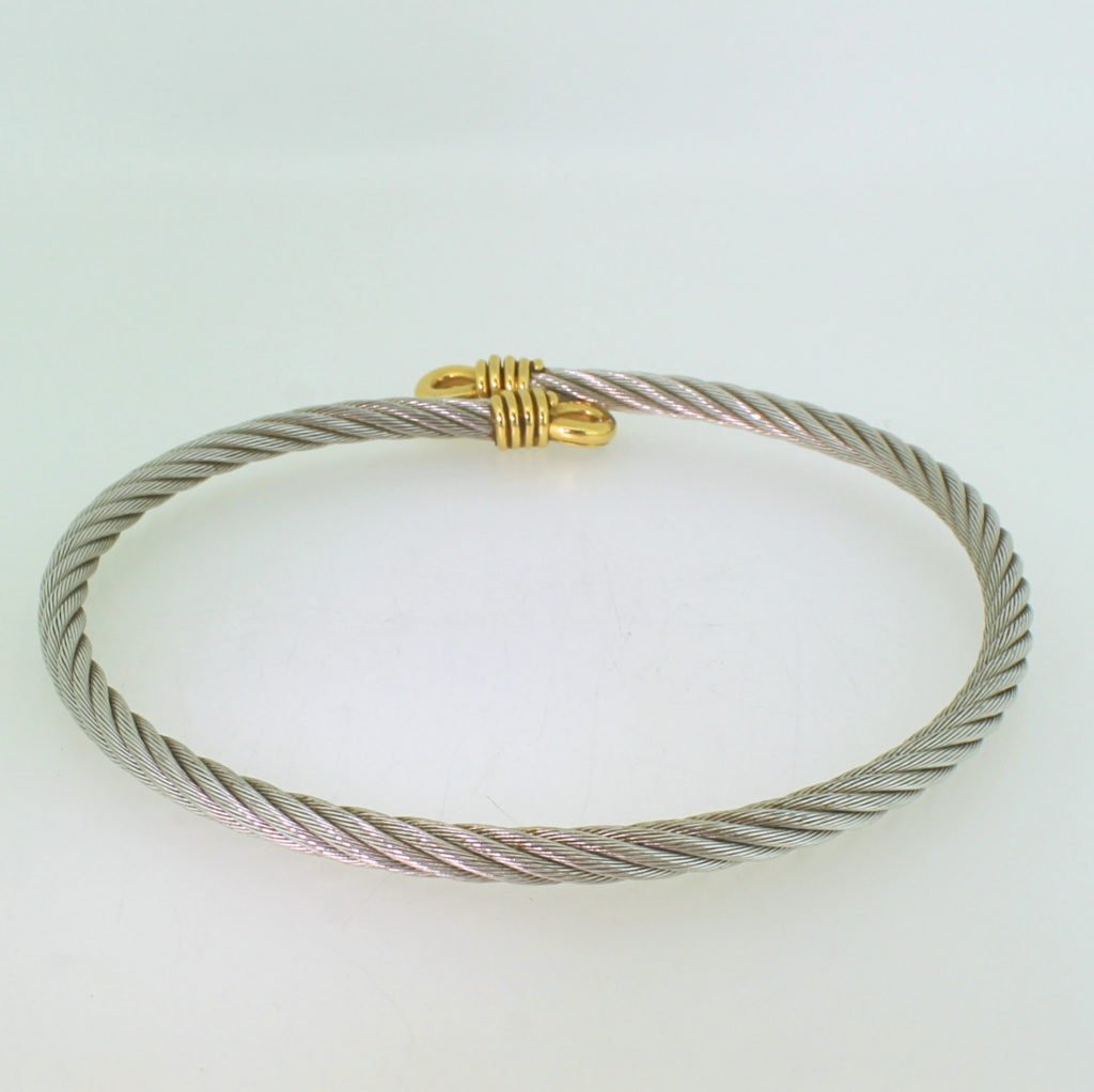 fred of paris 8216force 108217 18k gold 038 steel cable choker necklace