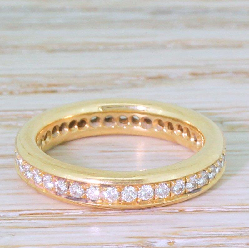 078 carat round brilliant cut diamond full eternity ring 18k rose gold