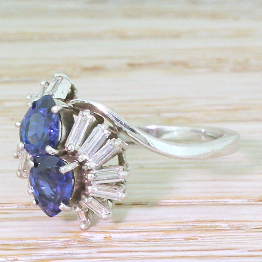 mid century pear cut sapphire 038 baguette cut diamond ring circa 1965