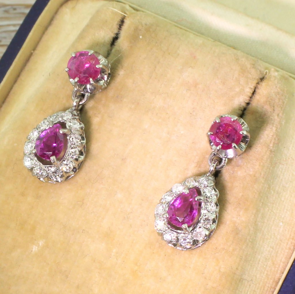 mid century 170 carat ruby amp diamond pear drop earrings circa 1970