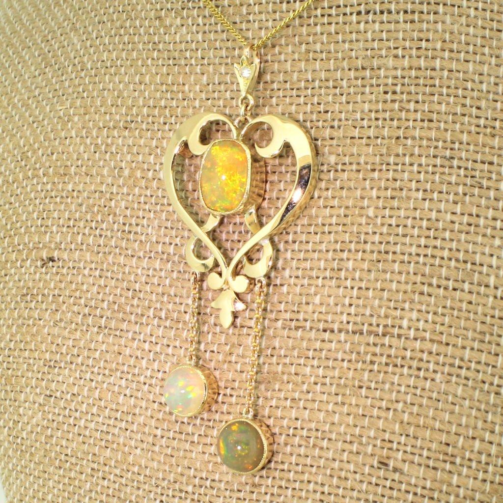 art nouveau 663 carat opal pendant circa 1900